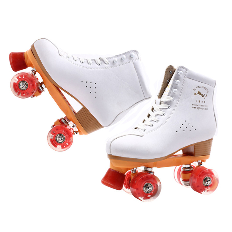 Children Adult Skating 4 wheels Double Row Skates Two Line Roller Shoes Super Fiber Leather Patins Kids PU Flashing Wheels IB41 reniaever double roller skates skating shoe gift girls black wheels roller shoe figure skates white free shipping