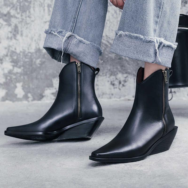 ISNOM Inek Deri yarım çizmeler Kadınlar Yüksek Topuklu Ahşap Bootie Moda Kare Ayak Ayakkabı Kadın Garip Tarzı Zip Ayakkabı Bayan Sonbahar