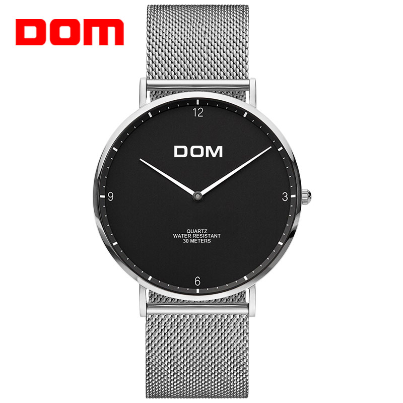DOM Lovers Watch Top Brand Luxury Quartz watch Casual quartz-watch leather Mesh strap ultra thin clock male Relog M-36D-1MS