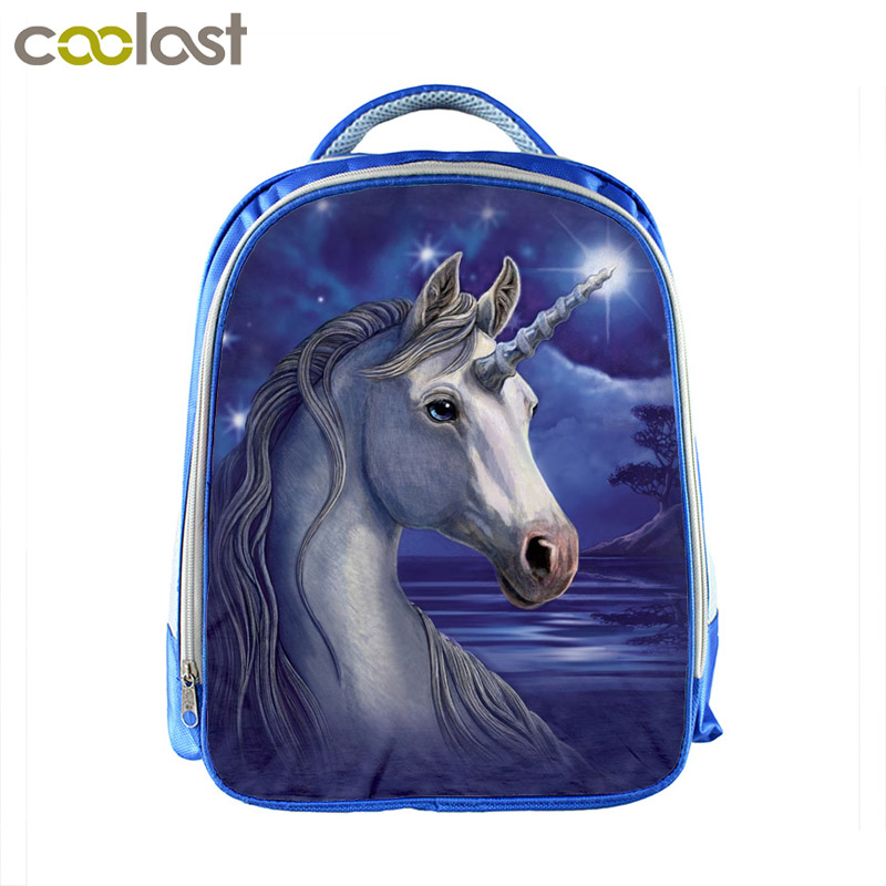 Anime Unicorn Backpack Rainbow Pony Children Backpack Boys Girls School Backpacks Kids School Bags Blue Kindergarten Backpacks