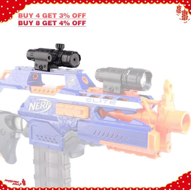 Lâmpada Luz para Nerf Tactical Plástico Ajustável Laser Vermelho-Preto