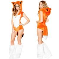 Adult Fox Costume Women S Furry Costume Sexy Animal Cosplay Hoodie Plush Leotard Leg Warmers Set