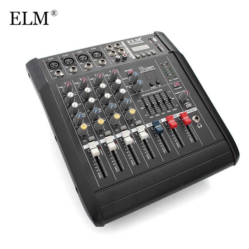 ELM мини караоке аудио контроллер 4 канала микрофон микшерная консоль усилитель с USB Встроенный 48 V Phantom Мощность