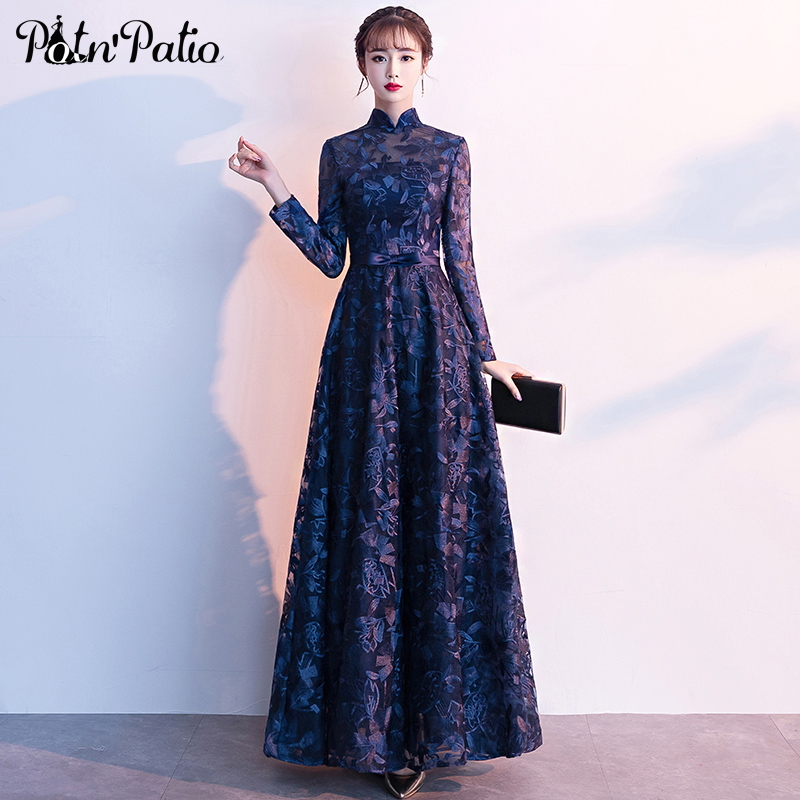 Elegant Vintage High Neck Muslim Evening Dreses Long Plus Size A line Floor Length Navy Blue