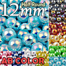 Flat-Back-Beads Half-Round Jewelry-Accessory Imitation Mix-Colors Abs-Plastic 12mm