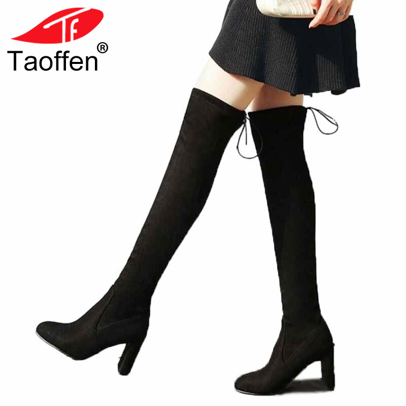 TAOFFEN Plus Size 32-48 Women Thick High Heel Over Knee Elastic Boots Women Back Strap Pointed Toe Shoes Women Winter BotasTAOFFEN Plus Size 32-48 Women Thick High Heel Over Knee Elastic Boots Women Back Strap Pointed Toe Shoes Women Winter Botas