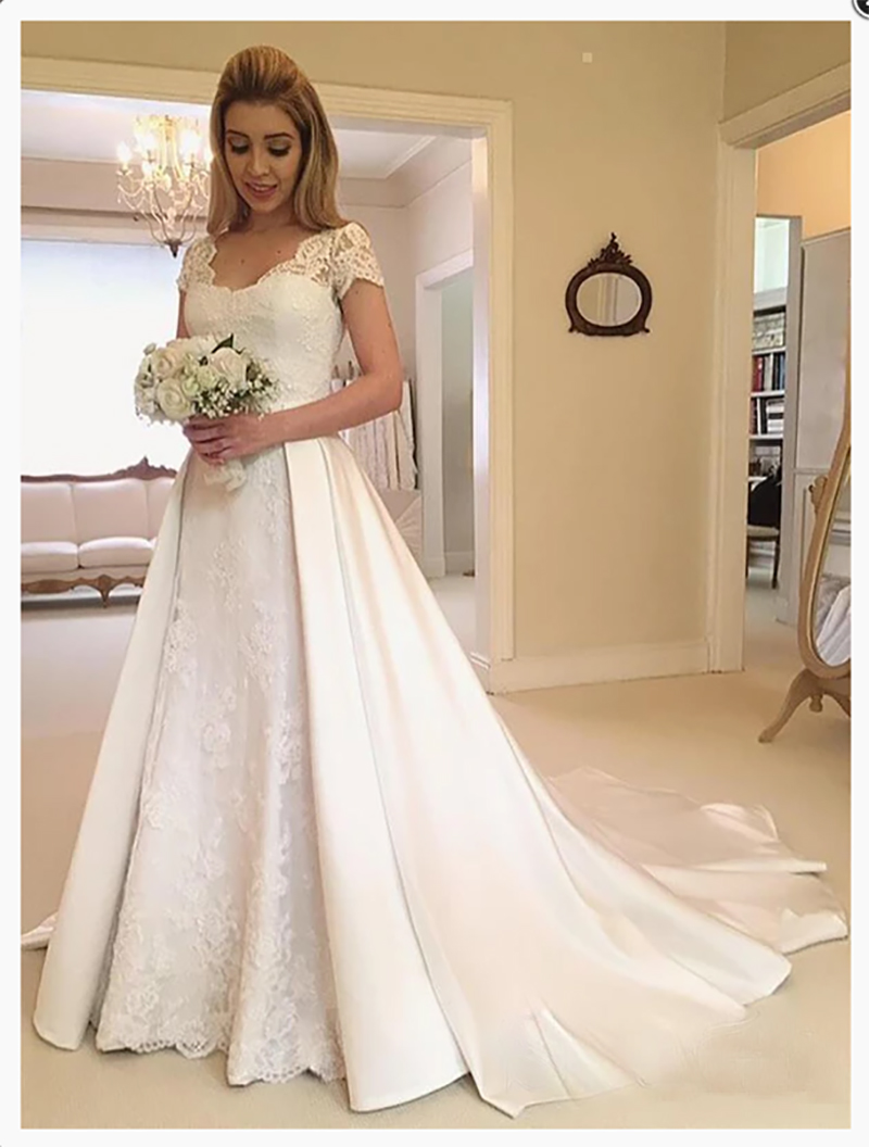 LORIE Princess Wedding Dress  A-Line Tulle Backless Boho Bride Dress Short Sleeves Satin Lace  Wedding Gowns