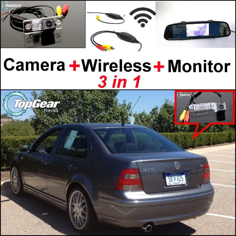 Special Wifi Camera + Wireless Receiver + Mirror Monitor 3 in1 Easy DIY Backup Parking System For Volkswagen VW Jetta Bora A4 1J wireless pager system 433 92mhz wireless restaurant table buzzer with monitor and watch receiver 3 display 42 call button