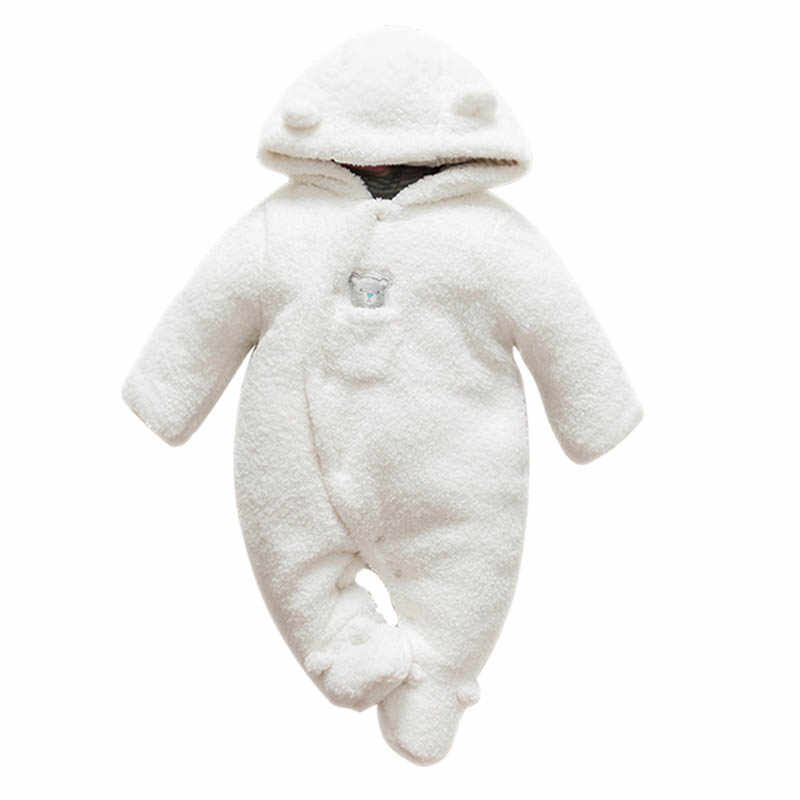d1614152ac16a Newborn baby clothes bear baby girl boy rompers hooded plush jumpsuit  winter overalls for kids roupa