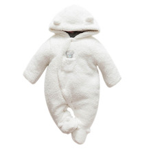 Newborn baby clothes bear onesie baby girl boy rompers hooded plush jumpsuit winter overalls for kids roupa menina цены онлайн