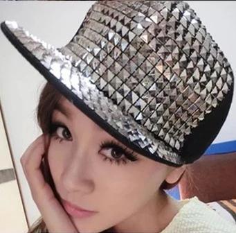 Frete grátis boné de beisebol mulher paillette chapéus tampas Hop do punk prata ouro