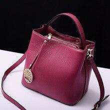 Organizer cowhide women's handbag genuine leather bucket bag ladies casual messenger bags handbags famous brands bolsos 2017 sac