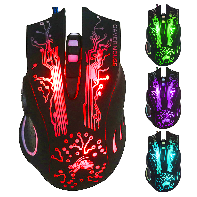 USB Wired Optical Game Gaming Mouse PC 6 Buttons Adjustable 4000 DPI Laptop US