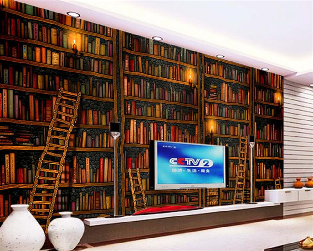 Beibehang Custom Wallpaper Living Room Bedroom Mural 3D Decorative 3d Book Bookshelf Bookcase Background