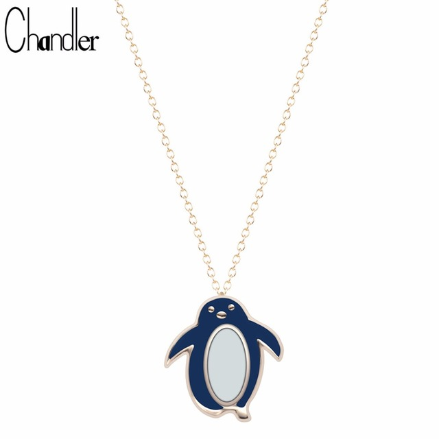 Chandler Cute Penguin Blue Enamel Pendant Necklace For Women Chain Link Exquisite Metal  Colar Feminino Minimalist Jewelry Joias