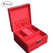 Купить с кэшбэком Large Space Velvet Jewelry Box  High Quality Earrings Storage Casket  Cosmetic Box For Women Christmas Gift