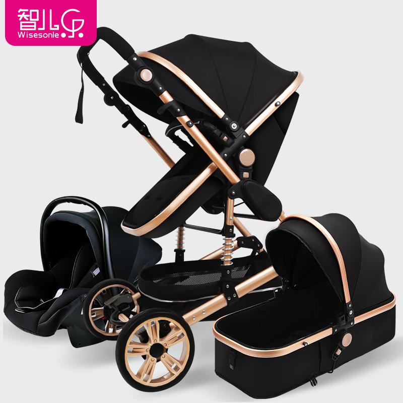 3 In 1 Baby Stroller High Landscape Multi-function Can Sit Reclining Light Folding Baby Pram High Quality Luxury  Baby Stroller