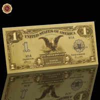 Billete de copia de dinero de papel de Estados Unidos de 1987, billete chapado en oro de 1 dólar, billete de dinero falso de 24K USD para Hobbyist de billetes