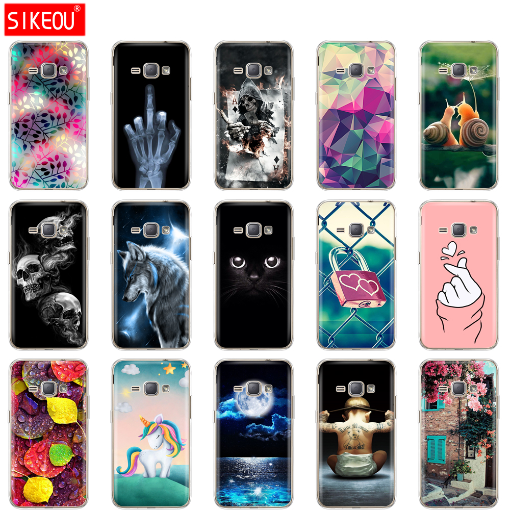 Soft TPU Case for Samsung Galaxy J1 2016 J120 J120F SM-J120F back cover 360 full protective printing transparent coque flower