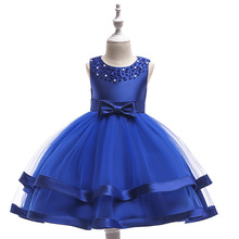 Real Picture Sleeveless Scoop-Neck Bow Sashes Stain Kids Princess Flower Girls Dress Kids Evening Gowns Prom Dress cute sleeveless scoop neck striped flower embellished dress for girls