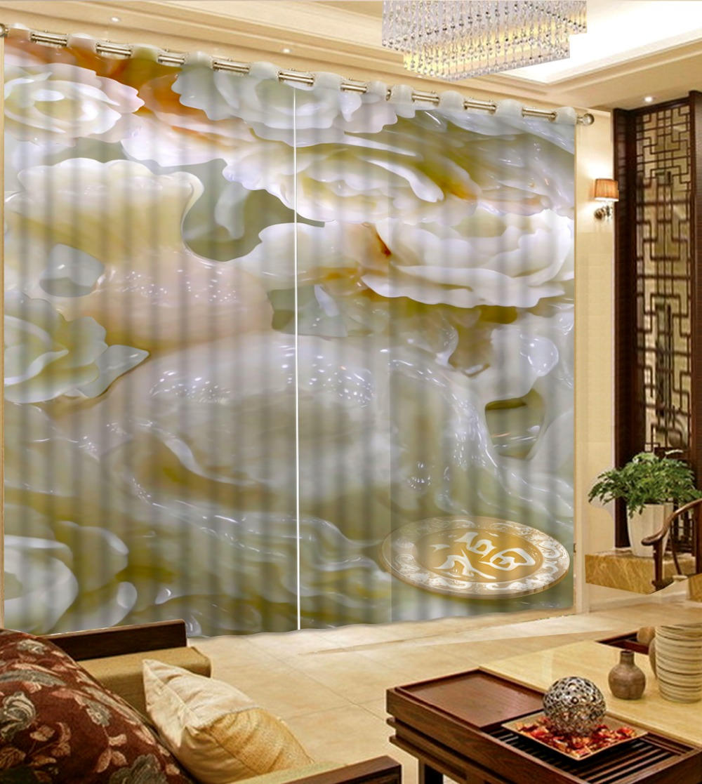 3d Curtains Custom Curtains Jade Flowers Home Bedroom