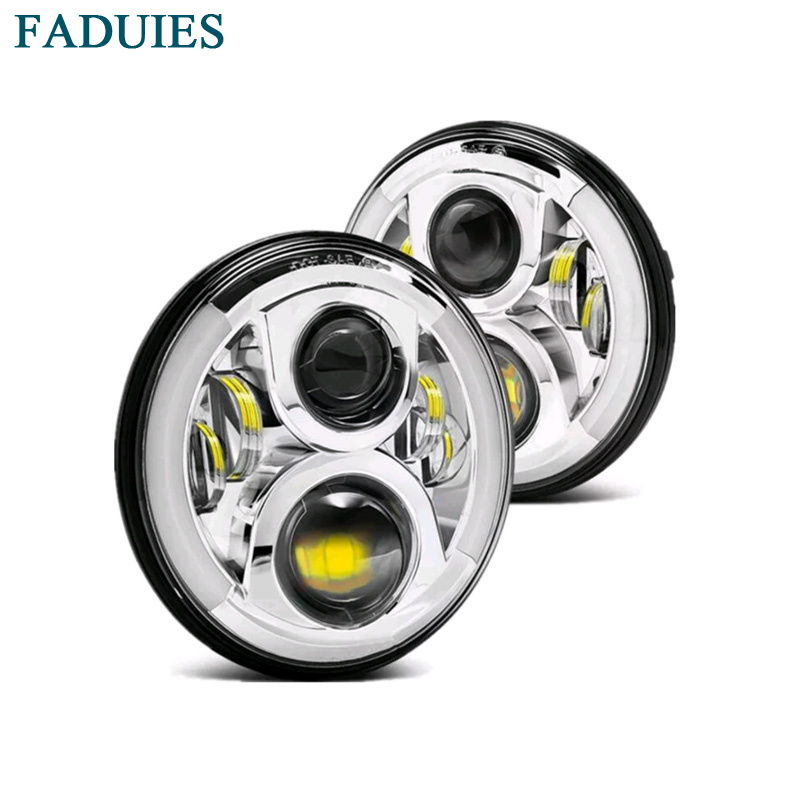 FADUIES Chrome 7 60W LED Headlight with Halo Angel Eye for Jeep Wrangler JK 05-16 Car offroad LED Tru-Projector Headlight 7 60w round car led headlight with halo angel eye
