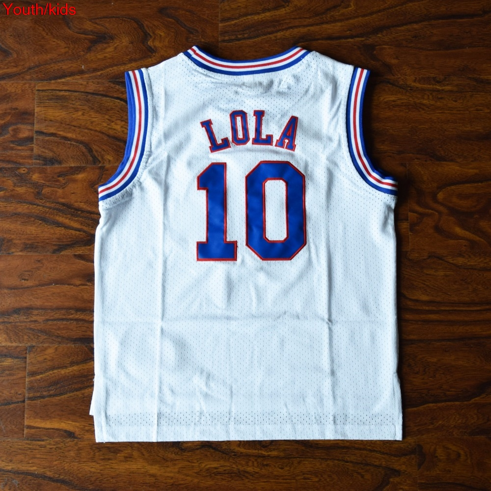 37fbfa252e9882 Youth Kids Youth Kids Space Jam TAZ ! Bugs 1 Lola 10 Murray 22 Jordan 23  Tune Squad Basketball Jersey Stitched White-in Basketball Jerseys from  Sports ...