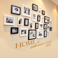 Home Is Wherever I M With You Home Warming Quote Family Photo Wall Sticker 46 X13