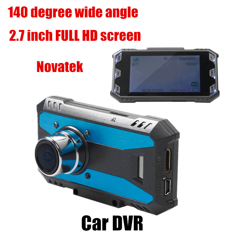 New Car DVR Novatek Full HD 2.7 inch LCD 140 degree wide angle Night vision Motion Detection Video Recorder