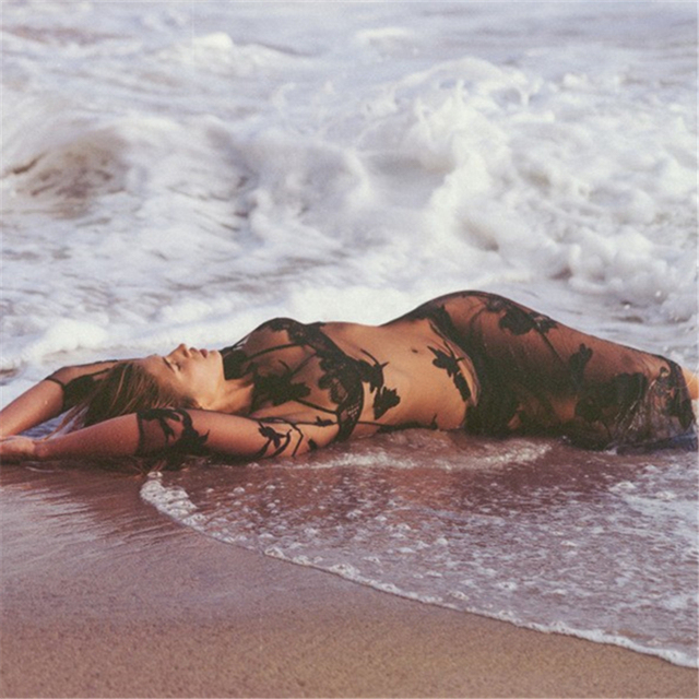 Hot in 2017!!! Elegant and Sexy Women Black Mesh Beach Cover Up for Summer Bikini