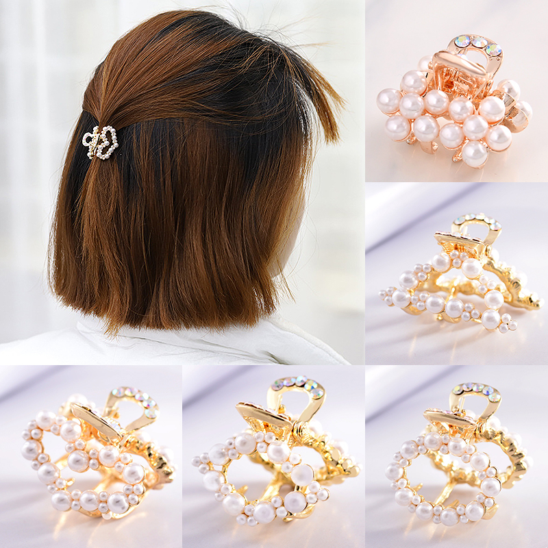 Sale 1PC Korea New Imitation Pearl Hair Clip Women Hairpin Sweet Adult Small Hair Claw Barrette Beauty Styling Tools