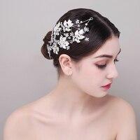 Silver Color Leaves Rhinestone Crown Tiara Crystal Bridal Wedding Hair Jewelry Accessories Headband Princess Girls Headpieces
