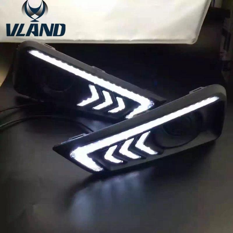 Бесплатная доставка светодиодные фары дневного света противотуманные фары DRL для Honda грас Сити 2014 2015 2016 Мустанг Стиль
