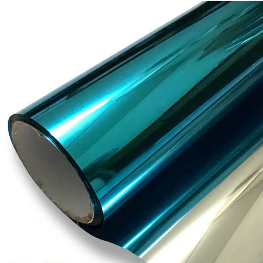 One Way Mirror Window Film Blue Silver Reflective Solar Tint Privacy Self Adhesive Heat Control Office Decorative Film 60 300cm in Decorative Films from Home Garden