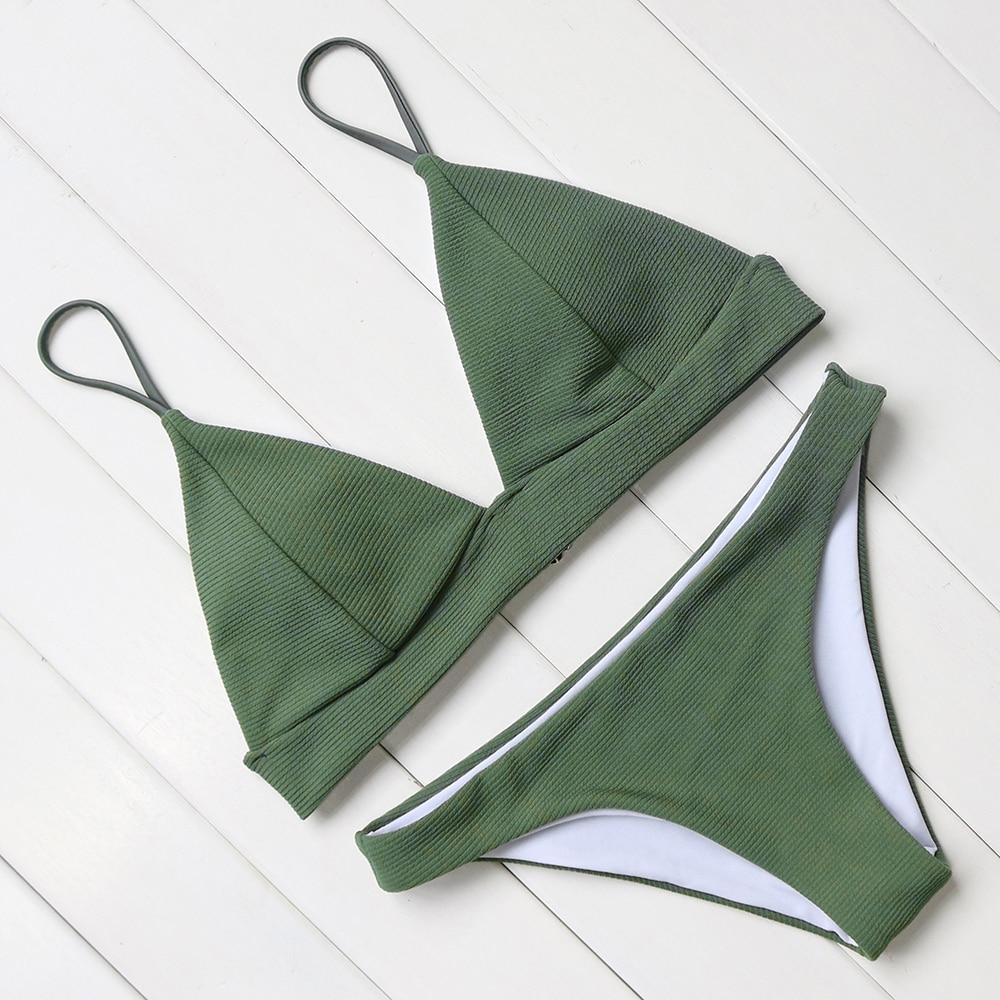 sexy bikini women push up swimsuit halter bandage swimwear female padded bathing suit solid bikini set low waist swimming suit
