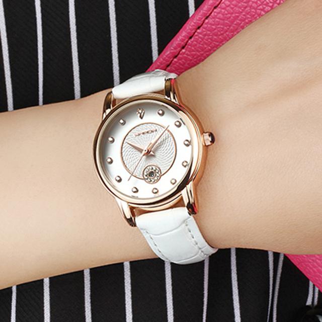 SANDA Women Watches Top Luxury Brand White Leather Women's Wrist Watch