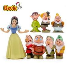 Bevle Fairy Tales Cartoon Characters Snow White 7 Dwarfs PVC Action Figure Doll Figure Toy Decoration