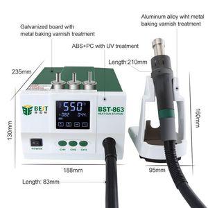 Image 5 - الرصاص قابل للتعديل الهواء الساخن أفضل 863 محطة إعادة العمل لحام اللمس شاشة LCD 1200 W 220 V للهاتف CPU PCB
