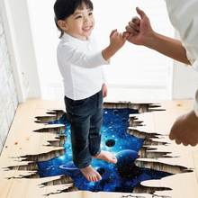 Outer Space Planets 3D Wall Stickers Cosmic Wall Decals For Kids Room Baby Bedroom Ceiling Floor Decoration(China)