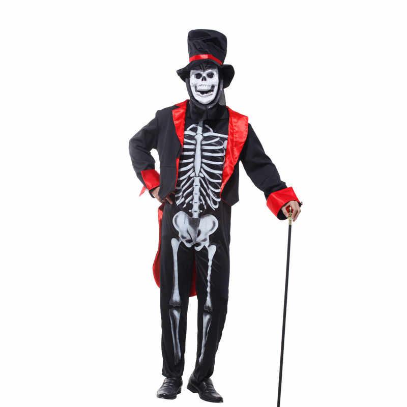 Umorden Halloween karnawał kostium mężczyzna dorosłych straszny czaszka potwór Demon kostiumy kombinezon z maska na twarz dla mężczyzn M-0073