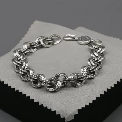 S925 Sterling Silver Ring Tide Male Bracelet Retro Personality Female Jewelry Creative Couple Student Bracelet retro rhinestone rattan butterfly bracelet with ring