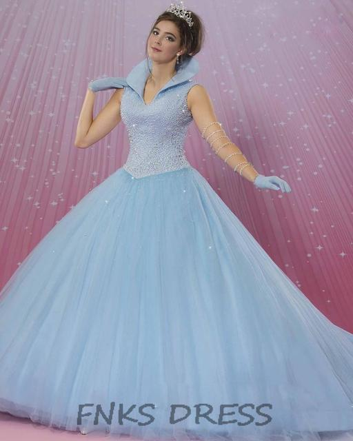 Cheap Quinceanera Dresses High Stand Shawl Collar Beading Bodice ...
