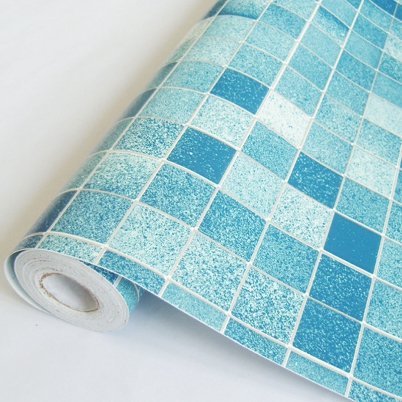 2016 new hot sale wallpaper paste PVC wall paper wall stickers bedroom blue Mosaic bathroom waterproof self-adhesive thickening