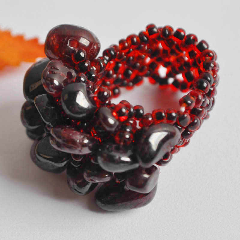 Elastic Garnet Bead Finger Ring Stretch Size 8-9 Jewelry For Woman Gift X022