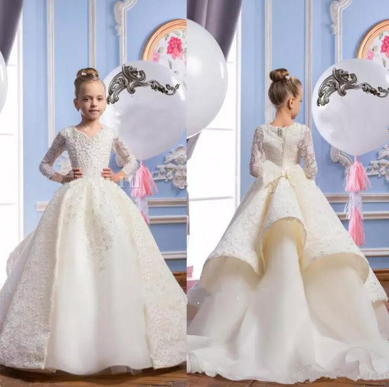 где купить New Arrival Girls Pageant Dresses Long Sleeves with Pearls Beads First Communion Dresses V Neck Flower Girls Dresses Custom Made дешево