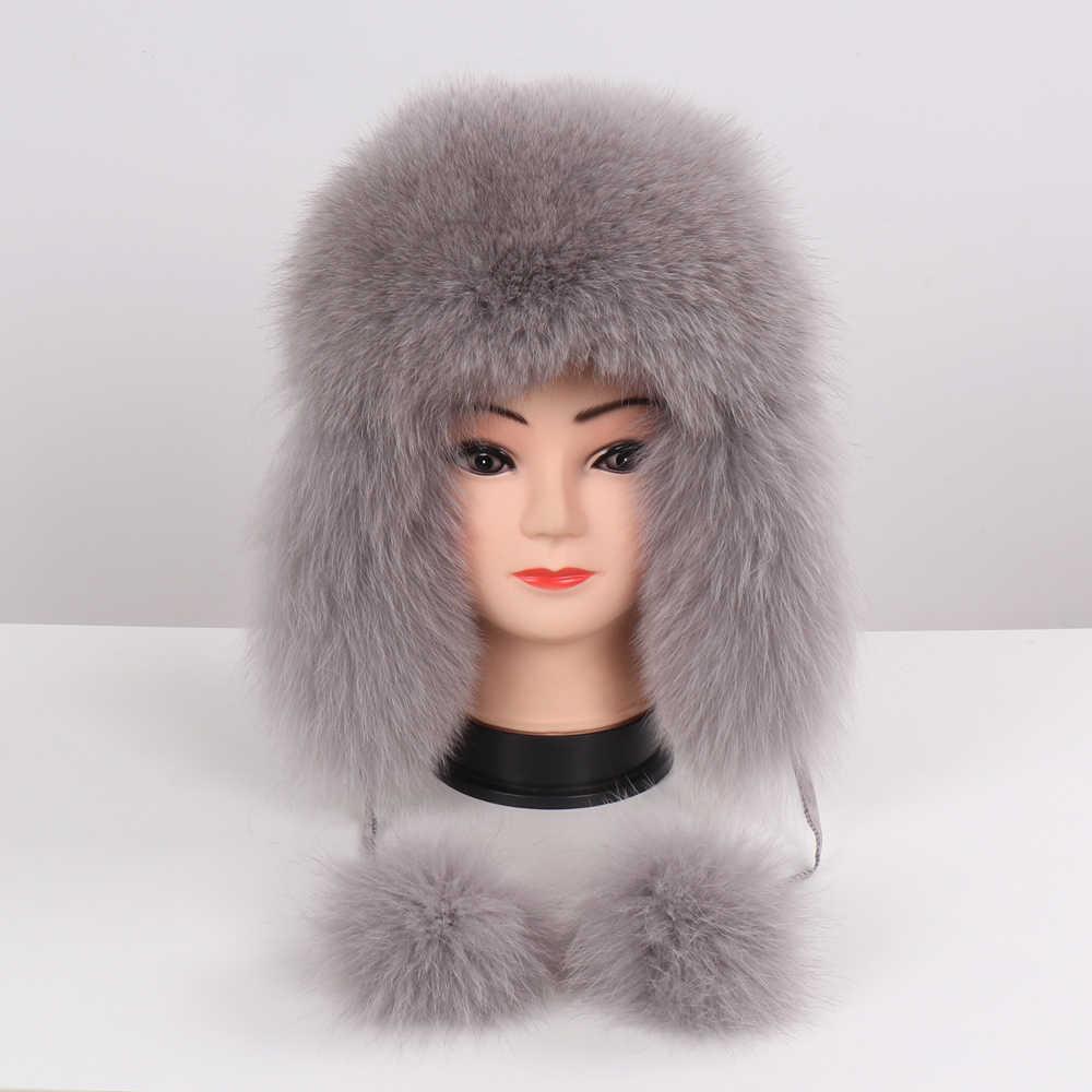 2019 Hot Sale Mulheres Natural Fox Fur Russo Ushanka Chapéus Chapéu Bombardeiro Inverno Quente Grosso Orelhas Moda Lady Genuine Real gorro de Pele De raposa