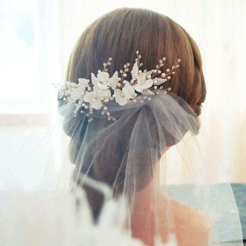 Bride Pearl Crystal Headpiece Wedding Accessories Accessoires Mariage Flower Fascinators  Wedding Comb Peigne Mariage
