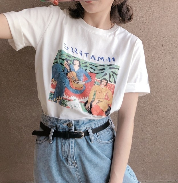 Vintage Print O Neck Short Sleeve Woman Cotton T-shirt Fashion 2019 Casual Loose Girls Summer Cotton Tees Pullovers 2