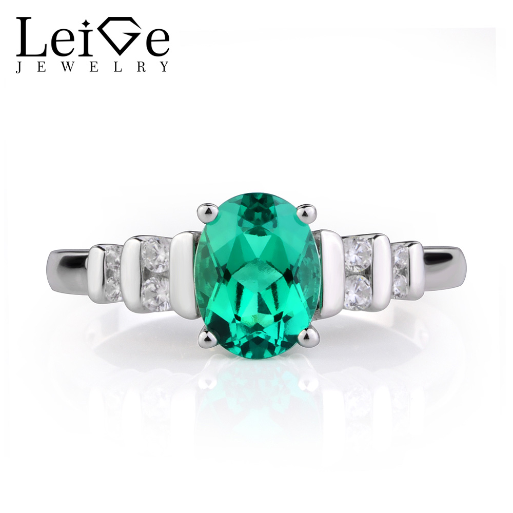 Leige Jewelry Green Emerald Ring Oval Cut Gemstone Engagement Wedding Rings for Women May birthstone Sterling Silver 925 leige jewelry emerald engagement rings for women pear shaped ring sterling silver 925 fine jewelry green gemstone may birthstone