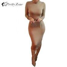 Hot Sale Women Winter Dress Turtle Neck Pencil Bodycon Dress Long Sleeve Sexy Club Dresses Party Bandage Dress Vestidos